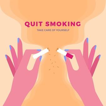 Ręce łamanie koncepcji papierosów