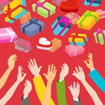 Ręce łapią spadające pudełka na prezenty