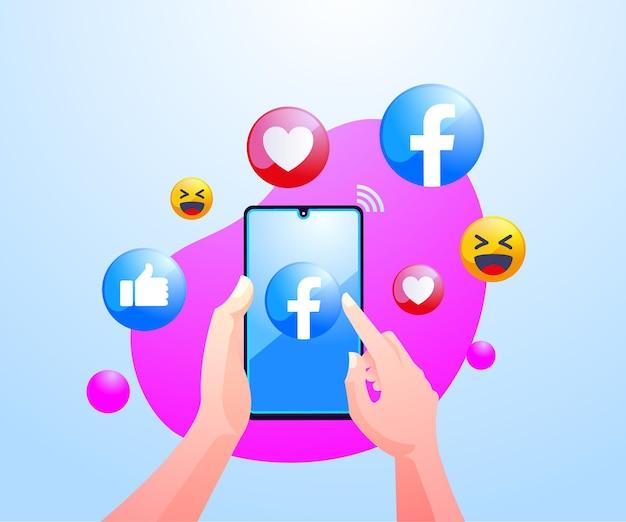 Ręce ludzi korzystających z aplikacji społecznościowej facebook na smartfonie