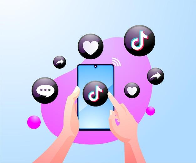 Ręce ludzi korzystających z aplikacji społecznościowej tiktok na smartfonie