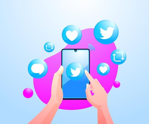 Ręce ludzi korzystających z aplikacji społecznościowej twitter na smartfonie
