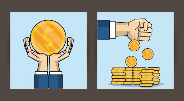 Ręce ludzi podnoszenia monet pieniędzy