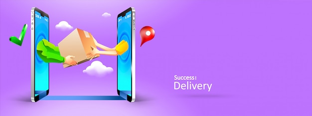 Ręce mężczyzny i kobiety, dając pakiet do innego przez telefon online