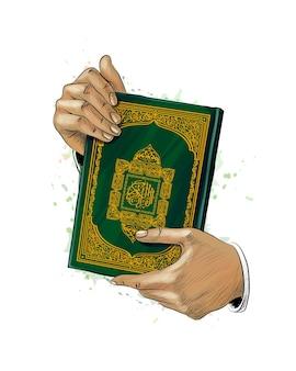 Ręce mężczyzny trzymają świętą księgę koranu przed pluskiem akwareli. święto muzułmańskie, eid mubarak, ramadan kareem. ręcznie rysowane szkic. ilustracja farb