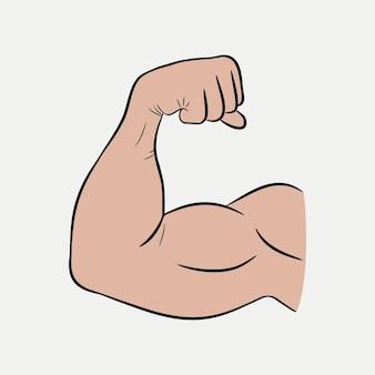 Ręce na bicepsach, silne ramię, wytrenowane mięśnie. ilustracja wektorowa.