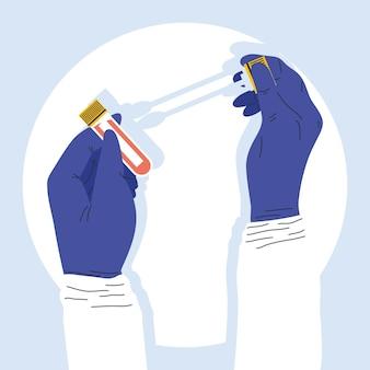 Ręce naukowca z testami na covid