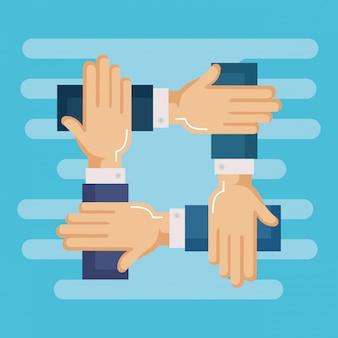Ręce osób pracy zespołowej firmy