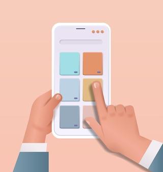 Ręce programisty tworzące mobilny interfejs użytkownika na ekranie smartfona program do tworzenia aplikacji internetowych koncepcja optymalizacji oprogramowania