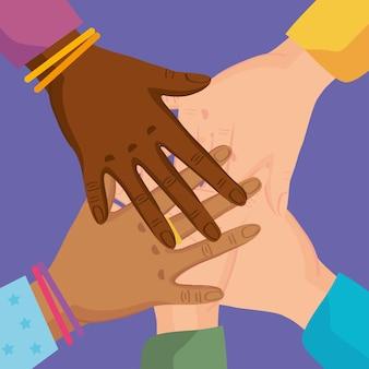 Ręce przyjaźni dotykają się
