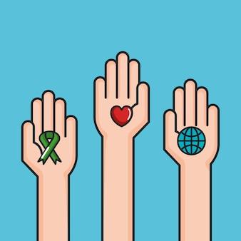 Ręce symbol pokoju świat miłość wstążki