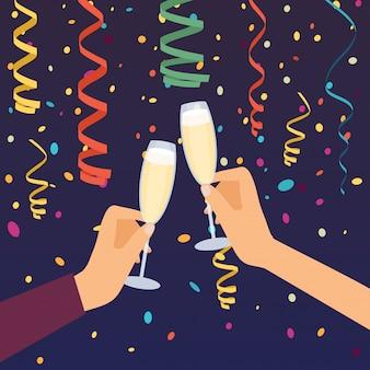 Ręce trzyma kieliszki do szampana, świętuje.