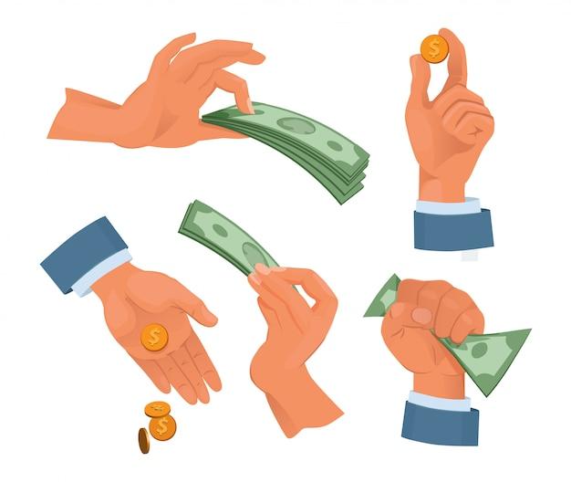 Ręce trzyma pieniądze. zestaw w stylu kreskówki. pieniądze gotówka, waluta finansów trzymając rękę. ilustracji wektorowych