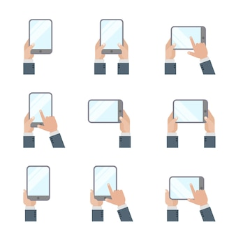 Ręce, trzymając tablet pc smartphone ręką dotykając ikony ekranu płaski telefon komórkowy i cyfrowy tablet gesty znaki.