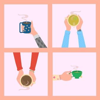 Ręce trzymające gorący napój w filiżankach herbata przerwa na kawę kubek kubek widok z góry stołu w kawiarni wektor