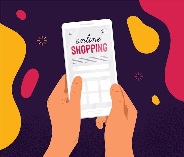 Ręce trzymające smartfon z aplikacją do zakupów online i zakupów internetowych
