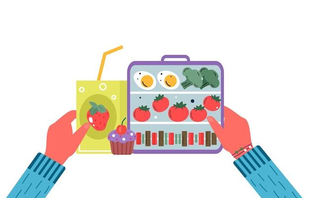 Ręce trzymające śniadanie lub obiad. jedzenie, napoje dla dzieci szkolne pudełka na lunch z jajkiem, mąką, pomidorem, sokiem, przekąskami, owocami, warzywami. wektor modny