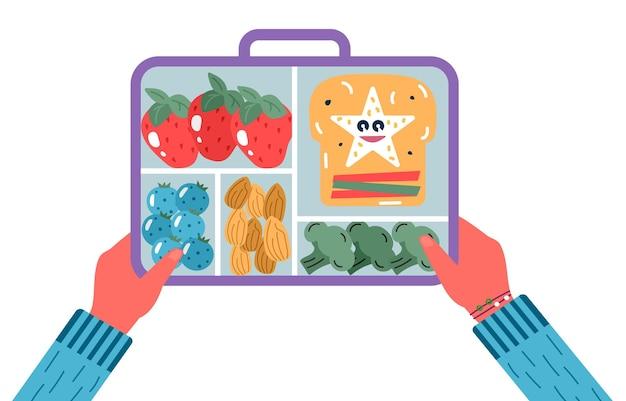 Ręce trzymające śniadanie lub obiad. żywność, napoje dla dzieci szkolne pudełka na lunch z posiłkiem, brokułami, kanapkami, sokami, przekąskami, owocami, warzywami. wektor modny.