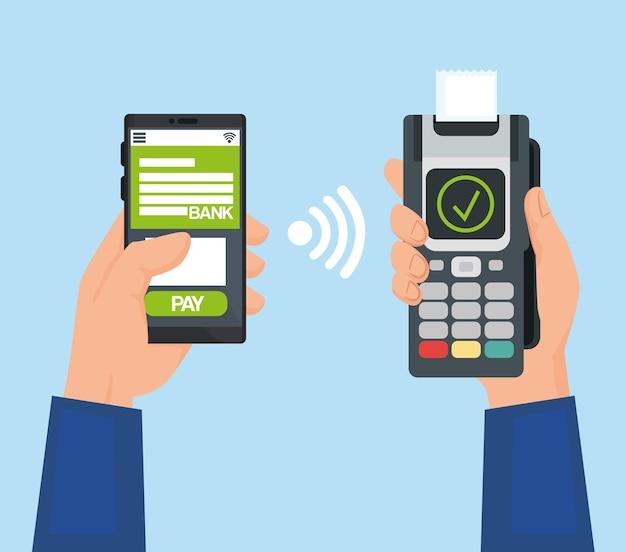 Ręce trzymające telefon i smartfon