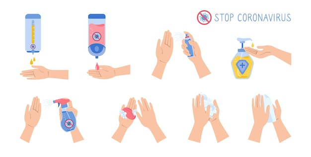 Ręce używają środka dezynfekującego w sprayu, mydła do mycia, przeciwko zestawowi kreskówek z wirusem covid. butelki ścienne ze środkiem dezynfekującym do płaskiej dezynfekcji koronawirusa, kolekcja żelu antyseptycznego.