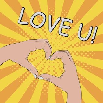 Ręce w kształcie serca gest kocham cię ilustracja komiksowa w stylu retro pop-art