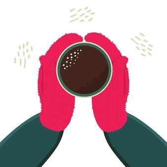 Ręce w rękawiczkach trzymają filiżankę gorącej herbaty lub kawy. zimowa przytulna ilustracja na pocztówki, plakaty.