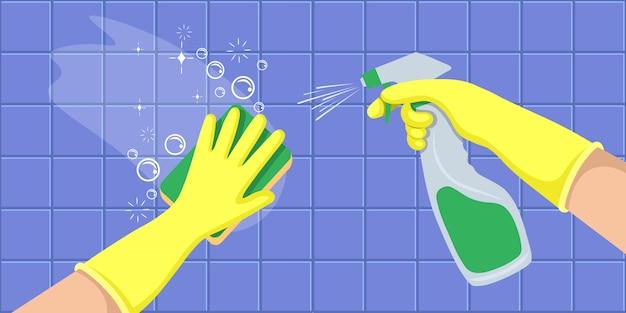Ręce w żółtych rękawiczkach trzymają butelkę z dezynfekującym sprayem i myją ścianę. koncepcja dla firm sprzątających. ilustracja wektorowa płaski.