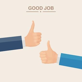 Ręce wielu biznesmenów z kciuki do góry. pozytywne opinie