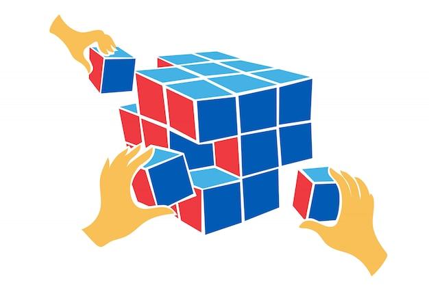 Ręce współpracują, aby rozwiązać problem