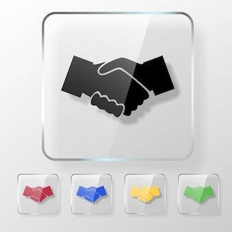 Ręce wstrząsnąć ikona na przezroczystym błyszczącym kwadracie. koncepcja umowy.