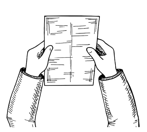 Ręce z arkuszem szkicu widok z góry ręce z arkuszem dokumentów