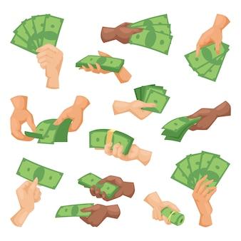 Ręce z ilustracji wektorowych pieniądze na białym tle