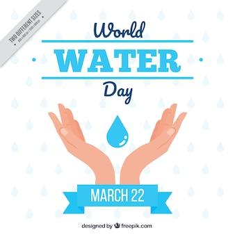 Ręce z kropli wody tle