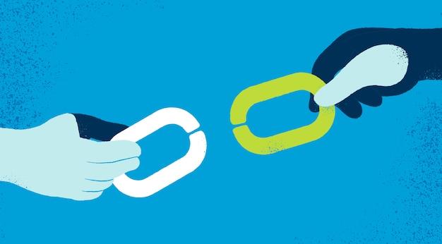 Ręce z łańcuchami tle