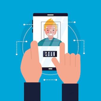 Ręce z mobilnym skanować twarz człowieka