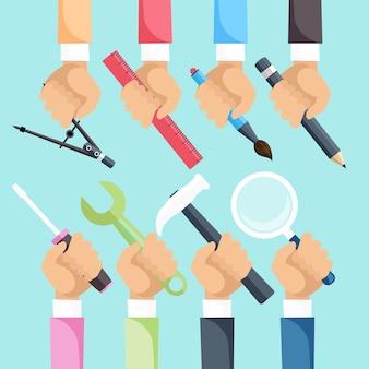 Ręce z narzędziami budowlanymi