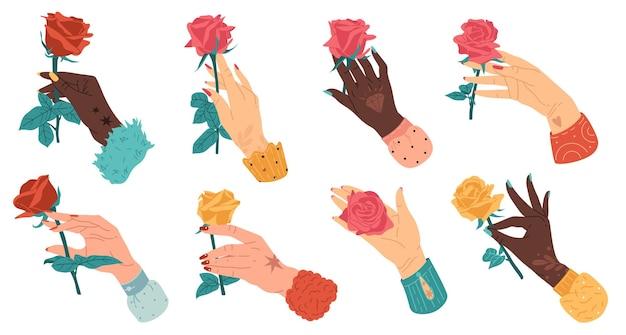 Ręce z różami kreskówka płaska nowoczesna grafika