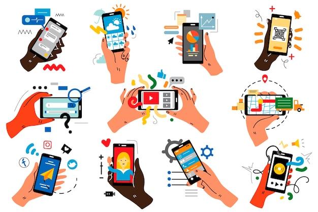 Ręce z smartfonów doodle zestaw.