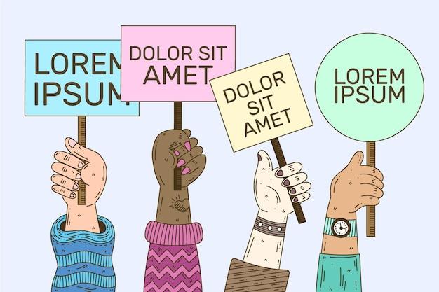 Ręce z tabliczkami
