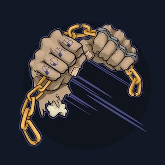 Ręce z tatuażami i mosiężnymi kostkami łamią metalowy łańcuch