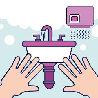 Ręce z umywalką suszarka do rąk łazienka