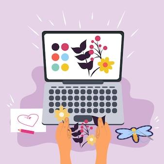 Ręce z warsztatem komputerowym