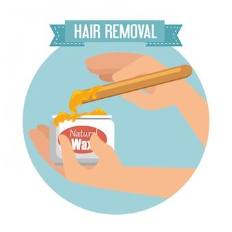 Ręce za pomocą produktu do usuwania włosów