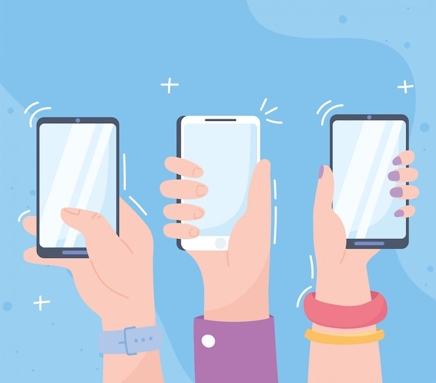 Ręce ze smartfonami, systemem komunikacji społecznościowej i technologiami