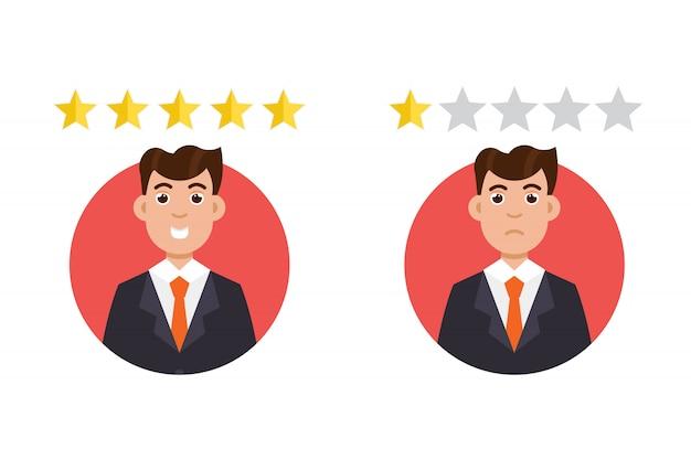 Recenzja klienta. koncepcja pozytywnych i negatywnych opinii.