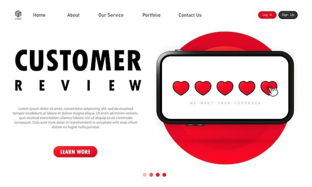 Recenzja klienta na banerze smartfona. pozytywne opinie lub obsługa klienta.