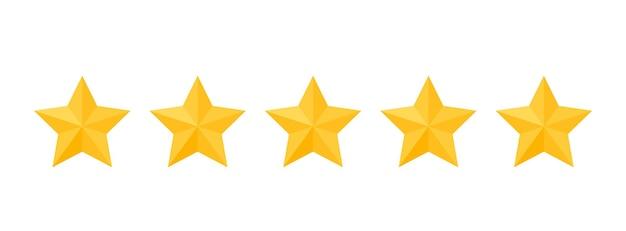 Recenzja pięciogwiazdkowa. 5 żółtych znaków zwrotnych. ranking oceny produktu. ocena jakości systemu