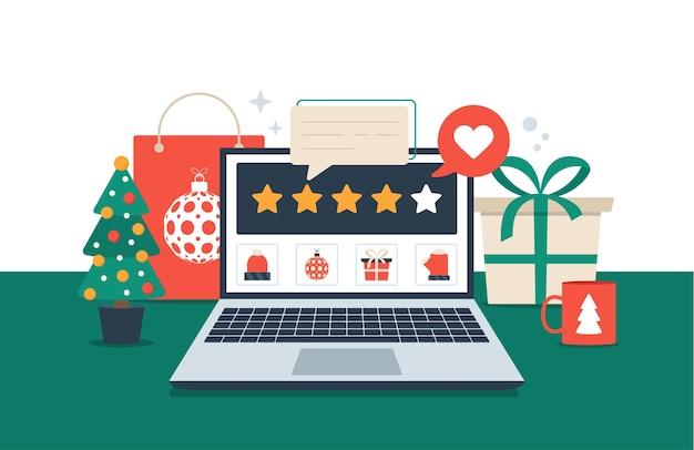 Recenzja prezentu online na laptopie. świąteczne zakupy i opinie pięć pomarańczowych gwiazdek płaska ilustracja. biurko z elementami wakacyjnymi
