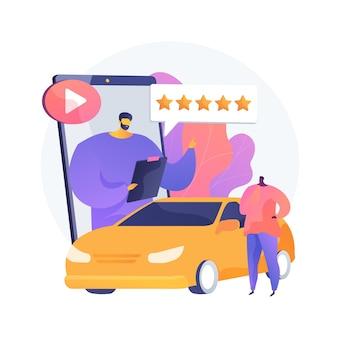 Recenzja samochodu ilustracja abstrakcyjna koncepcja wideo