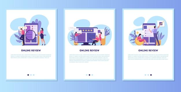 Recenzja zestawu banerów mobilnych online. ludzie zostawiają opinie, dobre i złe komentarze. ocena w gwiazdkach, idea ankiety i oceny. ilustracja