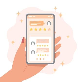 Recenzje osób na ekranie smartfona